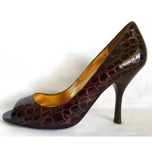 Enzo Angiolini Brown Patent Crocodile PeepToe Heel